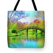 Bridge Over Lake In Spring Tote Bag