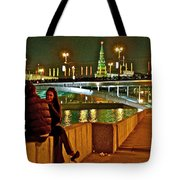 Bridge Over River Near The Kremlin At Night In Moscow-russia Tote Bag