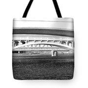 Bridge Panorama Black And White Tote Bag