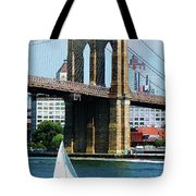 Bridge - Sailboat By The Brooklyn Bridge Tote Bag