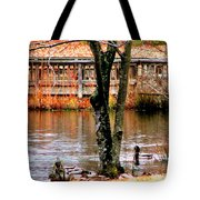 Bridge Spanning Pond Tote Bag