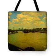 Bridge With Puffy Clouds Tote Bag