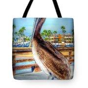 Brief Pelican Encounter  Tote Bag