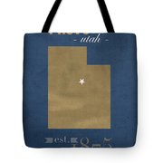 Brigham Young University Cougars Provo Utah College Town State Map Poster Series No 023 Tote Bag