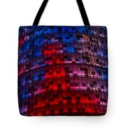 Bright Blue Red And Pink Illumination - Agbar Tower Barcelona Tote Bag