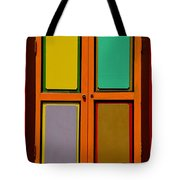 Bright Colorful Window Shutters With Four Panels Tote Bag