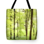 Bright Green Forest In Spring With Beautiful Soft Light  Tote Bag