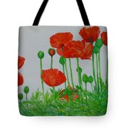 Red Poppies Colorful Flowers Original Art Painting Floral Garden Decor Artist K Joann Russell Tote Bag