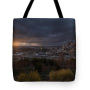 Bright Seattle Sunstar Dusk Skyline Tote Bag