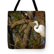 Bright White Heron Tote Bag