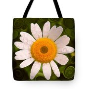 Bright Yellow And White Daisy Flower Abstract Tote Bag