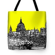 Dark Ink With Bright Yellow London Skies Tote Bag