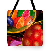 Brightly Painted Bowls At A Market - Mexico - Travel Photography By David Perry Lawrence Tote Bag