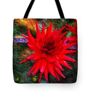 Brilliance In An Autumn Garden - Red Dahlia Tote Bag