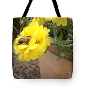 Brilliant Rose Flower With Buzzy Bee Tote Bag