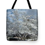 Brilliant Snow Coated Tree Tote Bag