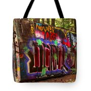 British Columbia Train Wreck Graffiti Tote Bag
