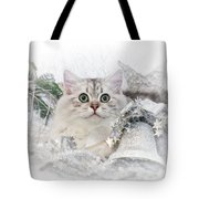 British Longhair Cat Christmas Time II Tote Bag by Melanie Viola