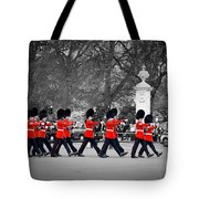British Royal Guards March And Perform The Changing Of The Guard In Buckingham Palace Tote Bag