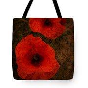 Brocade Textured Poppies Tote Bag