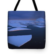 Broken Fast Ice Under Midnight Sun Tote Bag by Tui De Roy