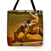 Bronc Bucking Out The Gate Tote Bag