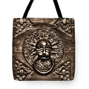 Bronze Lion Head And Ring On The Main Door Of The Town Hall In Dubrovnik Sepia Tote Bag