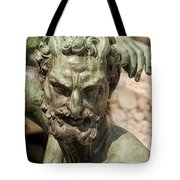 Bronze Satyr In The Fountain Of Neptune Of Florence Tote Bag