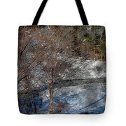 Brook And Bare Trees - Winter - Steel Engraving Tote Bag