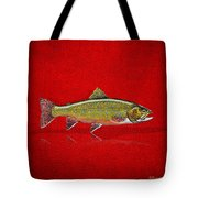 Brook Trout On Red Leather Tote Bag