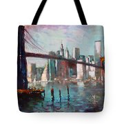 Brooklyn Bridge And Twin Towers Tote Bag