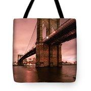 Brooklyn Bridge - Red Morning Tote Bag by Gary Heller