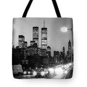 Brooklyn Bridge Traffic II Dusk 1980s Tote Bag