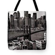 Brooklyn Bridge View In Sepia Tote Bag