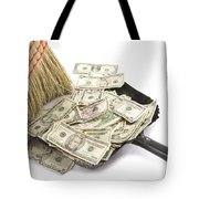 Broom Sweeping Up American Currency Tote Bag