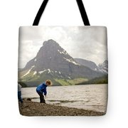 Brother And Sister Playing Near A Lake Tote Bag