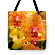 Smiling Brown And Pink Orchids Tote Bag