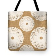 Brown And White Floral Tote Bag