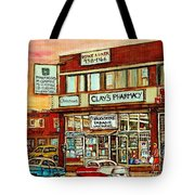 Brown Derby Van Horne Shopping Center Clay's Pharmacy Montreal Paintings City Scenes Carole Spandau Tote Bag