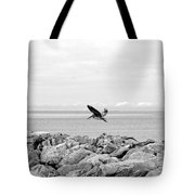 Brown Pelican In Flight Tote Bag