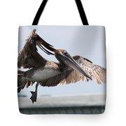Brown Pelican Landing Tote Bag