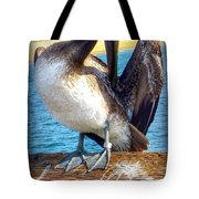 Brown Pelican Preen  Tote Bag
