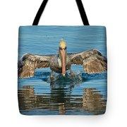 Brown Pelican Taking Off Tote Bag