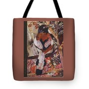 Brown- White Bird Tote Bag