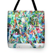 Bruce Springsteen And The E Street Band - Watercolor Portrait Tote Bag by Fabrizio Cassetta