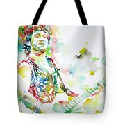 Bruce Springsteen Playing The Guitar Watercolor Portrait.2 Tote Bag