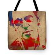 Bruce Springsteen Watercolor Portrait On Worn Distressed Canvas Tote Bag by Design Turnpike