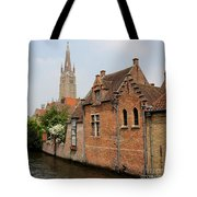Bruges Houses With Bell Tower Tote Bag by Carol Groenen