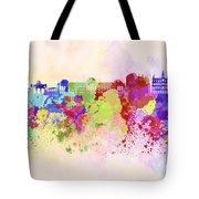 Brussels Skyline In Watercolor Background Tote Bag
