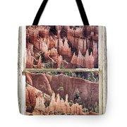 Bryce Canyon Utah View Through A White Rustic Window Frame Tote Bag
